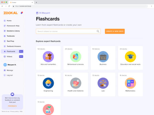 1. Search for flashcards using keywords